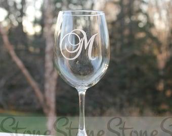 Monogram wine glass, Etched Wine Glass, Wine Glass monogram, Etched - 12oz,  Wine Glass, Personalized etched wine glass, etched glass