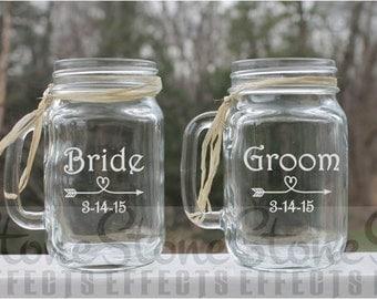 engraved mason jar, Bride and Groom, wedding mason jars, Monogrammed Mason Jar, Wedding Gift, Personalized Gift, Personalized Mason Jar