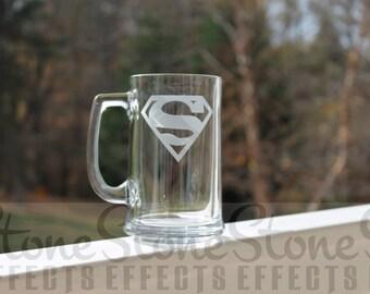 Superman, Superhero, Etched beer Mug, 10 styles - 16oz,  etched mugs, etched beer mugs, superhearo , personalized beer mug, engraved mug