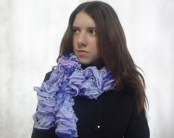 Women's Ruffles Lilac Shades Spring Scarf - Hand Knit Accessory