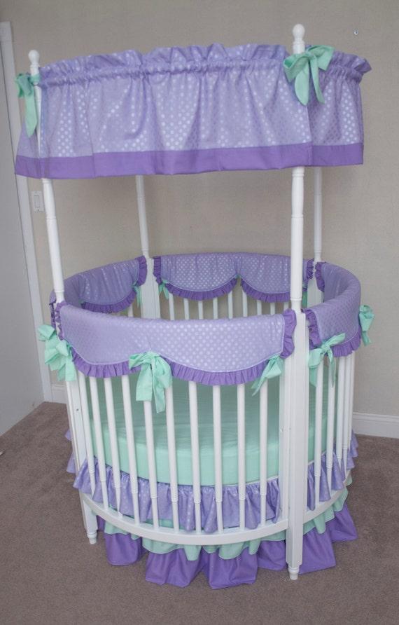 Round Crib Bumperless Mint And Lavender Purple Designer Baby