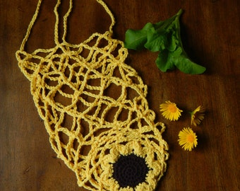 Sunflower Farmer's Market Bag, Produce Bag, Grocery Bag, Reusable Bag, Eco-Friendly, Garden Tote