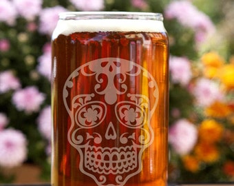 Sugar Skull Customizable Etched Beer Can Glass Glassware Gift