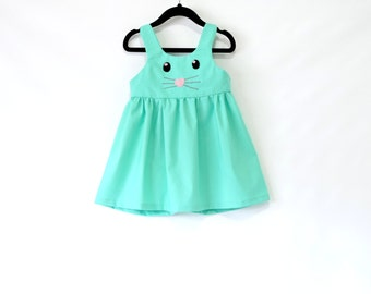 Bunny Girl Dress - Toddler Dress -Summer dress- Baby Girl Spring Dress - Baby Girl Easter Outfit- Baby Dress 12M - 6