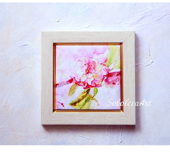 Sakura pink hand painted ceramic tile wall art painting - Painting ceramic tile walls ...