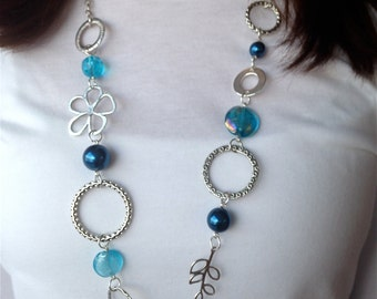 Chunky Blue and Silver Lanyard Necklace