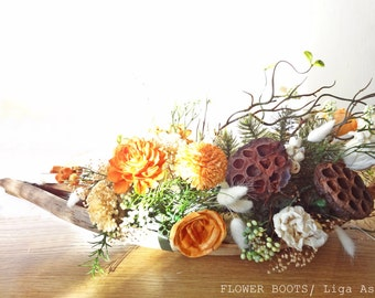 Sola flower centerpiece Wedding Reception Rustic Shabby chic Vintage wedding arrangements Home Decor Natural Coconut leaf