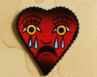 Handmade The Crying Heart Traditional Tattoo Brooch
