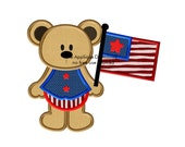 USA Teddy Boy - Fourth of July - 2 sizes - Instant EMAIL With Download - for Embroidery Machines