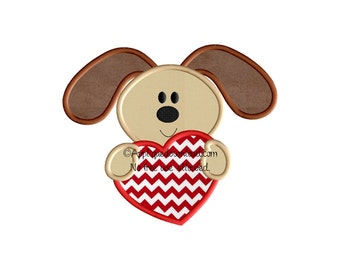 Valentine Puppy - Applique Design - Instant EMAIL With Download - for Embroidery Machines