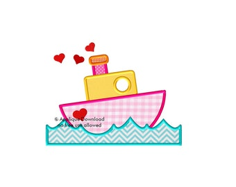 Cute Boat Applique - Valentine's Day Design - 3 sizes - Instant EMAIL With Download