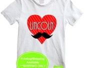Mustache Heart Iron On - Personalized Heart Iron On - Valentine Iron On - Mustache Iron On - Digital & Printed