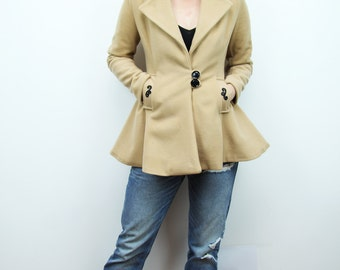 100% wool short women's coat, Fit and flare camel coat, camel coat, wool coat, women coat, short coat, short trench coat