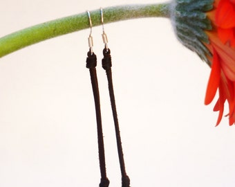 Tahitian black pearls, earrings for woman, leather - sterling silver 925