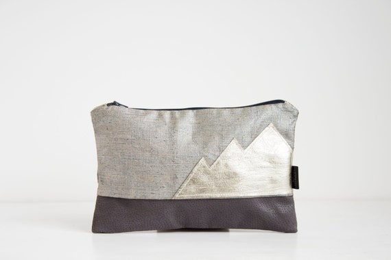 Linen and leather clutch, Metallic evening purse, Gold leather mountain design, Linen and leather pouch