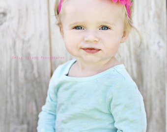 Pink Flower Headband, Baby Headband, Hot Pink Headband, Lotus Flower, Newborn Headband, Pink Hair Bow