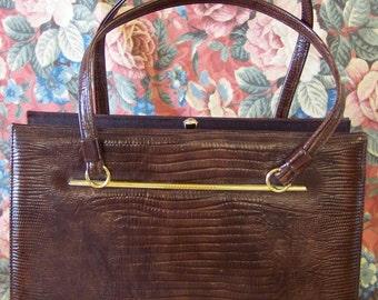 Chic Vintage Dobbies Reptile Leather Bag Handbag Purse