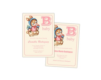 Digital DIY Vintage Baby Girl Shower Invitation / Baby Announcement / Baby Card / editable PDF  / personalize it, add text, print