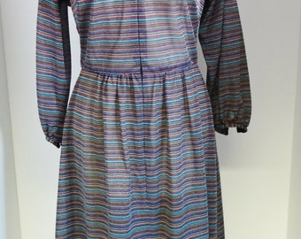 Vintage Striped Dress by Berkertex, 1970s  Metallic Material Front Zip Blouson Style Rainbow Colours  UK Size 14