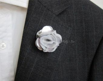 Metallic Silver Carnation Felt Lapel Flower - Mens Lapel Pin - Wedding Boutonniere - Tuxedo Lapel Pin