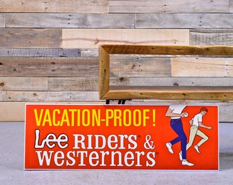 Lee Jeans Advertising Sign, Lee Riders and Westerners, 1950s Denim Advertising