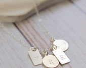 Silver Mini Tags Necklace   Personalized Necklace   Silver Necklace