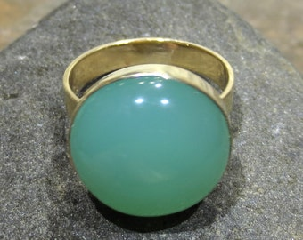 Natural Chrysoprase Ring - 14k Gold Size 7 - Handmade Jewelry - Green Gemstone  #1226