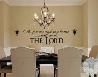 Family Wall Decal - Christian Wall Decal - As For Me and My House We Will Serve The Lord - Wall Decals - Christian Scripture Wall
