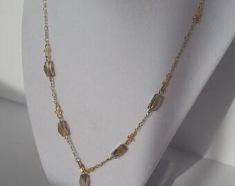 Smoky glass crystal necklace