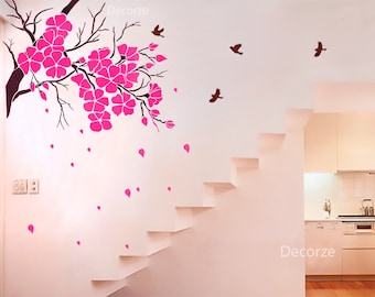 Large tree stencil on etsy a global handmade and vintage for Cherry blossom wall mural stencil
