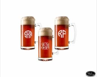THREE Personalized Monogram Beer Mugs, SHIPS FAST Custom Engraved Monogrammed Beer Mugs, Etched Beer Glasses, Groomsmen, Wedding Party Favor