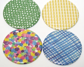 Colorful Modern Patterns Fridge Magnets Set of 4