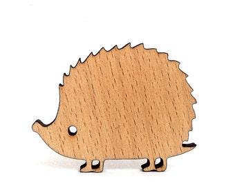Wooden animal brooch, hedgehog pin brooch gift idea for her