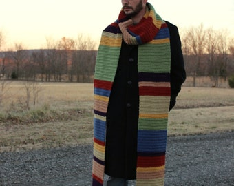 Doctor Who Scarf, Crochet Dr Who Scarf, Crochet Who Scarf, Tom Baker Scarf, Crochet Scarf, Doctor Who Gift, Striped Scarf, Scarf Doctor Who