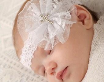 Christening Headband, White Cross Headband, Lace Baptism Headband, Rhinestone Cross Headband, Christian Bow, Baptismal Hair Bow