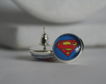 12mm Glass Cabochon Superman Post/Stud  Earrings Stainless Steel Half Inch
