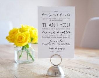 Reception Wedding Thank You Card - Printable File
