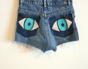 Vintage Hand Painted All-Seeing-Eye Denim Jean Cut-off Shorts
