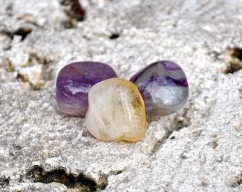 PISCES Set of 3 Crystals Amethyst, Fluorite, Citrine | Tumbled Gemstones For Astrology, Zodiac, Meditation Yoga, February March Birthday