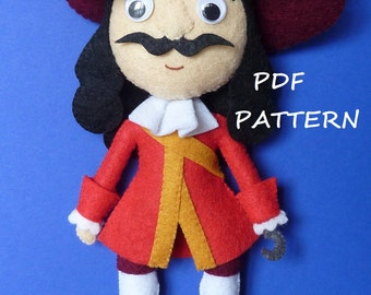 PDF sewing pattern to make a felt Captain Hook
