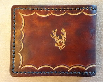 Tooled Brown Leather Wallet - Leather Billfold - Buck Head