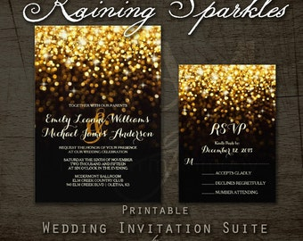 Hollywood Glam Raining Gold Sparkles Vintage Elegant Wedding Invitation Suite
