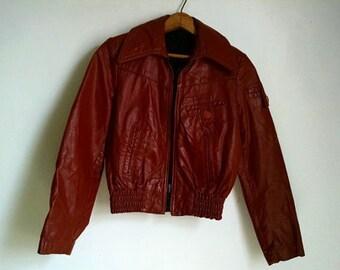 Vintage Red-Brown Leather Moto Jacket - 5/6