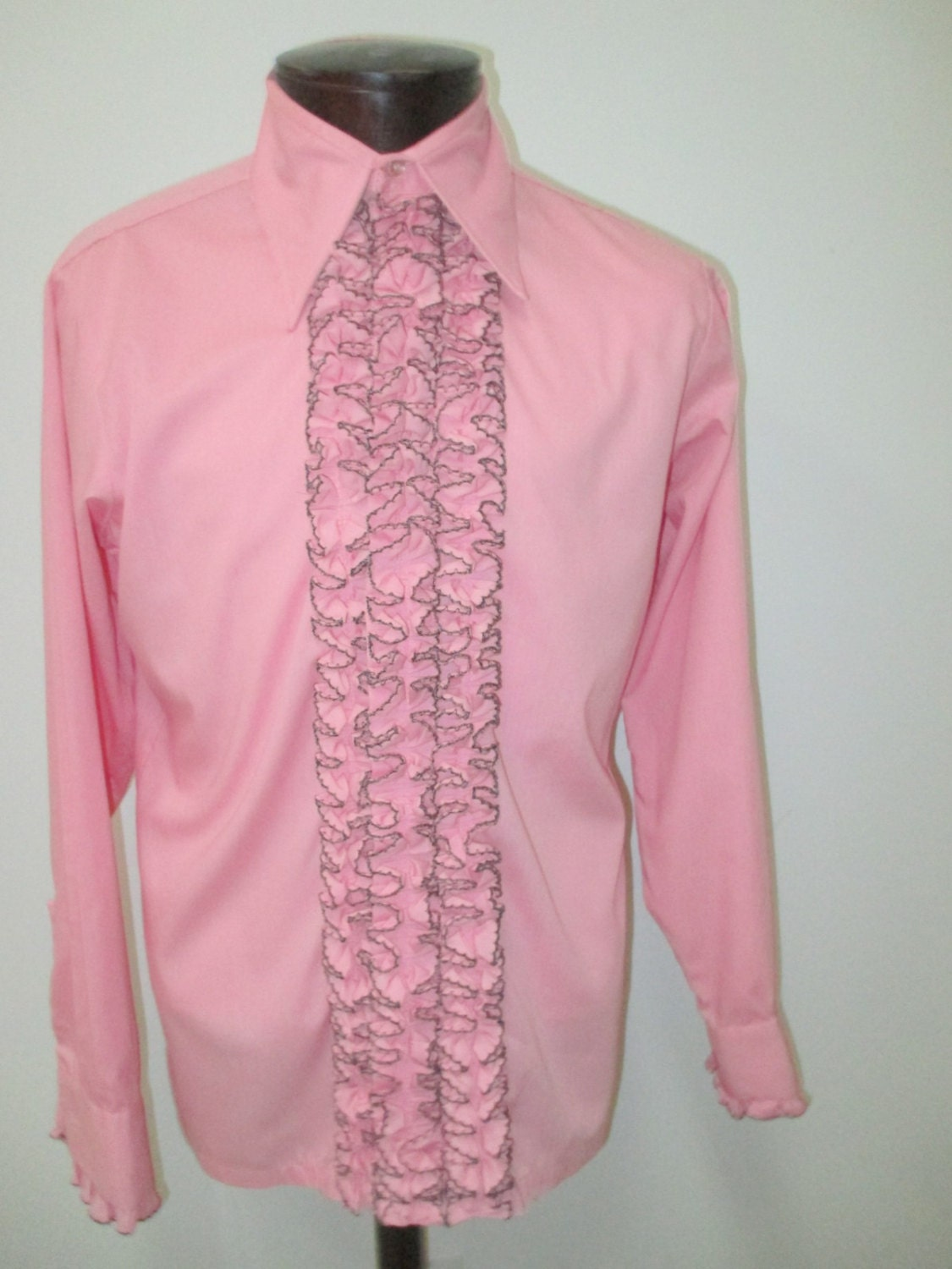 Bubblegum pink 70s ruffled tuxedo shirt vintage pink ruffled for Red ruffled tuxedo shirt