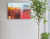 """Original, abstract oil painting """"Landscape II"""". The image is 100% authentic, oil painting on canvas, abstract, colorful, red."""