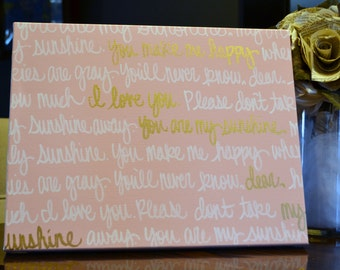 You Are My Sunshine Song Lyric Canvas Painting Wall Art Baby Girl Nursery Wall Hanging Pink & Gold Nursery Art Wall Decor Baby Girl Nursery
