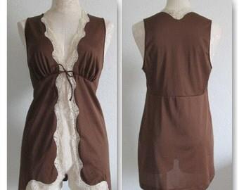Vanity Fair Vintage Chocolate Brown Lace Trim Pajama Top Babydoll- Medium