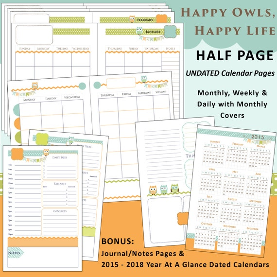 Happy Planner Calendar : Printable calendar planner happy owls us half page
