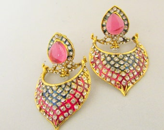 Pink and Blue Crystal Statement Earrings