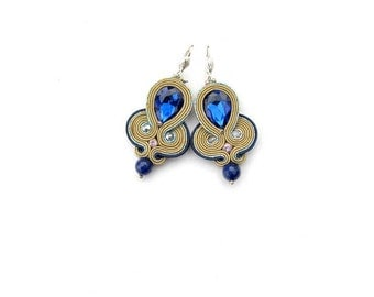 Glamour Dangle Earrings - Soutache Earrings with Crystals - Handmade Earrings from Poland